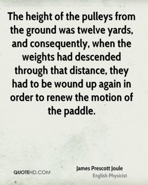 The height of the pulleys from the ground was twelve yards, and consequently, when the weights had descended through that distance, they had to be wound up again in order to renew the motion of the paddle.