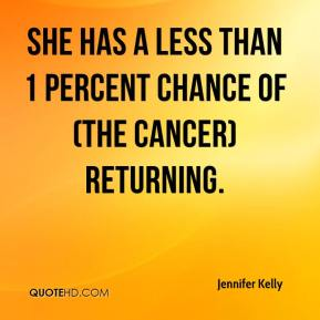 Jennifer Kelly  - She has a less than 1 percent chance of (the cancer) returning.