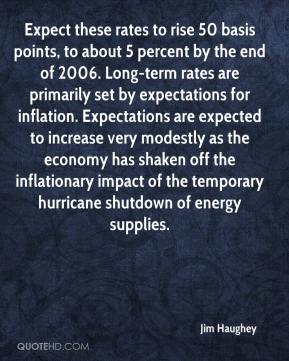 Jim Haughey  - Expect these rates to rise 50 basis points, to about 5 percent by the end of 2006. Long-term rates are primarily set by expectations for inflation. Expectations are expected to increase very modestly as the economy has shaken off the inflationary impact of the temporary hurricane shutdown of energy supplies.