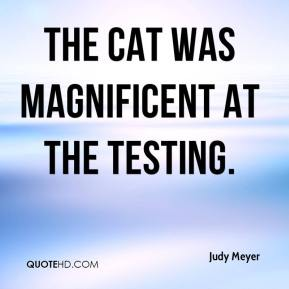 Judy Meyer  - The cat was magnificent at the testing.