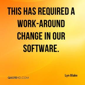 Lyn Blake  - This has required a work-around change in our software.