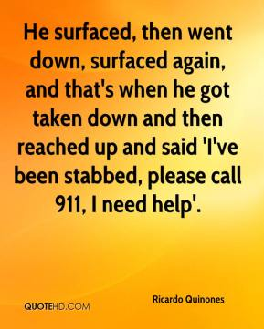 He surfaced, then went down, surfaced again, and that's when he got taken down and then reached up and said 'I've been stabbed, please call 911, I need help'.