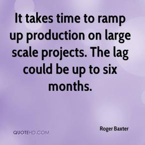 Roger Baxter  - It takes time to ramp up production on large scale projects. The lag could be up to six months.