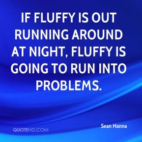 Sean Hanna  - If Fluffy is out running around at night, Fluffy is going to run into problems.