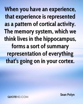 When you have an experience, that experience is represented as a pattern of cortical activity. The memory system, which we think lives in the hippocampus, forms a sort of summary representation of everything that's going on in your cortex.