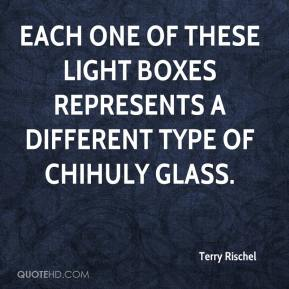 Terry Rischel  - Each one of these light boxes represents a different type of Chihuly glass.