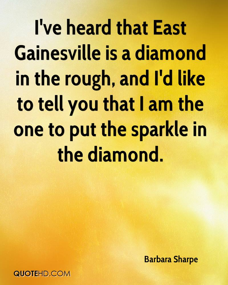 I've heard that East Gainesville is a diamond in the rough, and I'd like to tell you that I am the one to put the sparkle in the diamond.