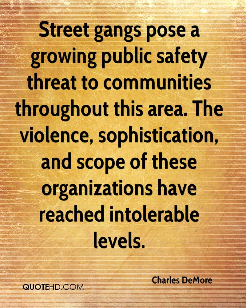 Street gangs pose a growing public safety threat to communities throughout this area the violence