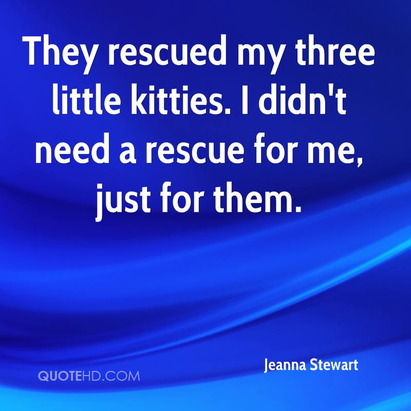 They rescued my three little kitties. I didn't need a rescue for me, just for them.