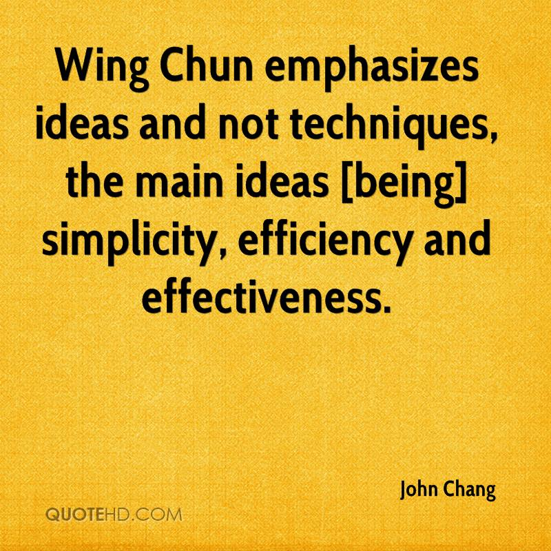 Wing Chun emphasizes ideas and not techniques, the main ideas [being] simplicity, efficiency and effectiveness.