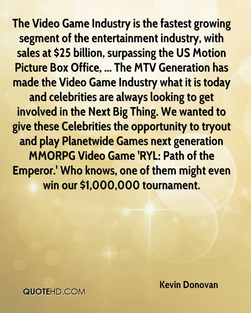 The Video Game Industry is the fastest growing segment of the entertainment industry, with sales at $25 billion, surpassing the US Motion Picture Box Office, ... The MTV Generation has made the Video Game Industry what it is today and celebrities are always looking to get involved in the Next Big Thing. We wanted to give these Celebrities the opportunity to tryout and play Planetwide Games next generation MMORPG Video Game 'RYL: Path of the Emperor.' Who knows, one of them might even win our $1,000,000 tournament.