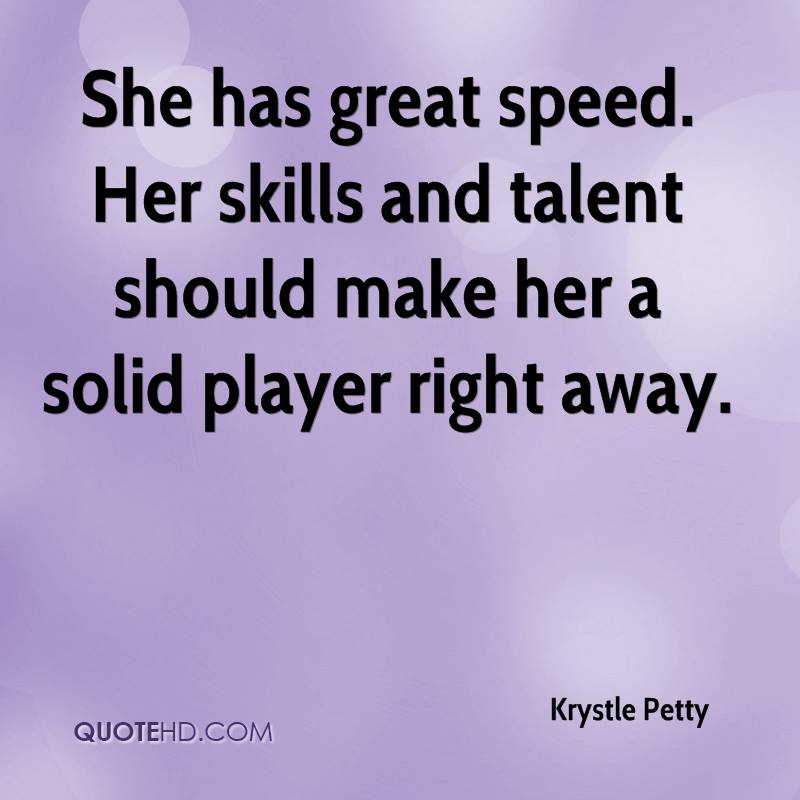 She has great speed. Her skills and talent should make her a solid player right away.