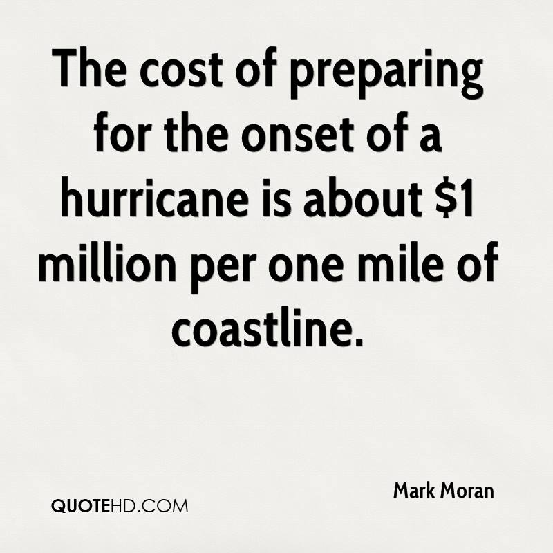 The cost of preparing for the onset of a hurricane is about $1 million per one mile of coastline.