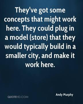 Andy Murphy - They've got some concepts that might work here. They could plug in a model (store) that they would typically build in a smaller city, and make it work here.