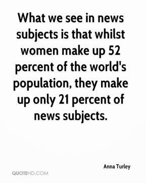 Anna Turley - What we see in news subjects is that whilst women make up 52 percent of the world's population, they make up only 21 percent of news subjects.