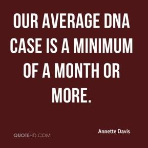 Annette Davis - Our average DNA case is a minimum of a month or more.