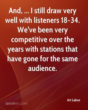 Art Laboe - And, ... I still draw very well with listeners 18-34. We've been very competitive over the years with stations that have gone for the same audience.