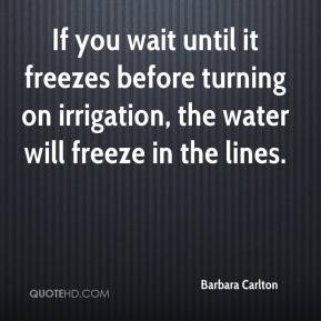 Barbara Carlton - If you wait until it freezes before turning on irrigation, the water will freeze in the lines.