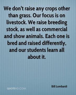 Bill Lombardi - We don't raise any crops other than grass. Our focus is on livestock. We raise breeding stock, as well as commercial and show animals. Each one is bred and raised differently, and our students learn all about it.