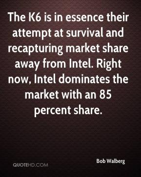 Bob Walberg - The K6 is in essence their attempt at survival and recapturing market share away from Intel. Right now, Intel dominates the market with an 85 percent share.