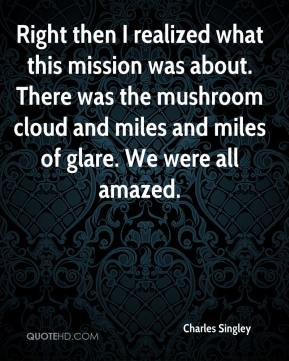 Right then I realized what this mission was about. There was the mushroom cloud and miles and miles of glare. We were all amazed.