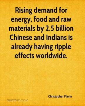 Christopher Flavin - Rising demand for energy, food and raw materials by 2.5 billion Chinese and Indians is already having ripple effects worldwide.