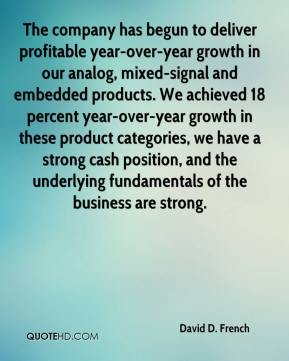 David D. French - The company has begun to deliver profitable year-over-year growth in our analog, mixed-signal and embedded products. We achieved 18 percent year-over-year growth in these product categories, we have a strong cash position, and the underlying fundamentals of the business are strong.