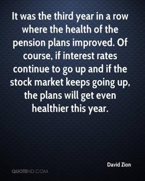 David Zion - It was the third year in a row where the health of the pension plans improved. Of course, if interest rates continue to go up and if the stock market keeps going up, the plans will get even healthier this year.