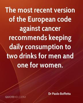 Dr Paolo Boffetta - The most recent version of the European code against cancer recommends keeping daily consumption to two drinks for men and one for women.