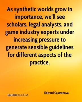 As synthetic worlds grow in importance, we'll see scholars, legal analysts, and game industry experts under increasing pressure to generate sensible guidelines for different aspects of the practice.