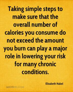 Taking simple steps to make sure that the overall number of calories you consume do not exceed the amount you burn can play a major role in lowering your risk for many chronic conditions.