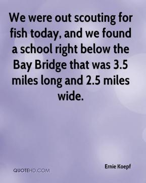 Ernie Koepf - We were out scouting for fish today, and we found a school right below the Bay Bridge that was 3.5 miles long and 2.5 miles wide.