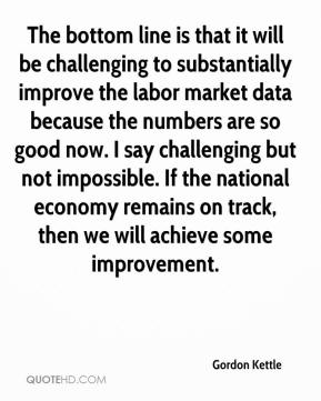 Gordon Kettle - The bottom line is that it will be challenging to substantially improve the labor market data because the numbers are so good now. I say challenging but not impossible. If the national economy remains on track, then we will achieve some improvement.