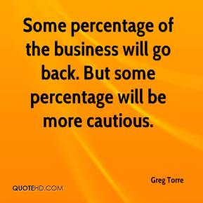 Greg Torre - Some percentage of the business will go back. But some percentage will be more cautious.