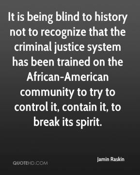 Jamin Raskin - It is being blind to history not to recognize that the criminal justice system has been trained on the African-American community to try to control it, contain it, to break its spirit.