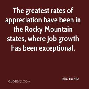 The greatest rates of appreciation have been in the Rocky Mountain states, where job growth has been exceptional.