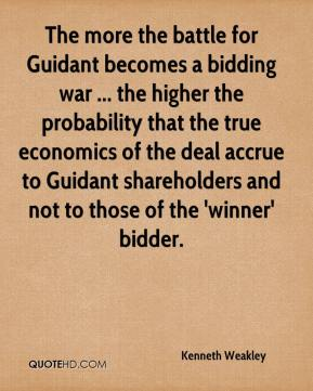 Kenneth Weakley  - The more the battle for Guidant becomes a bidding war ... the higher the probability that the true economics of the deal accrue to Guidant shareholders and not to those of the 'winner' bidder.