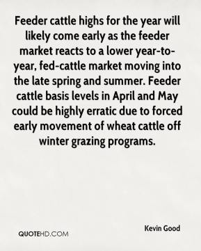 Feeder cattle highs for the year will likely come early as the feeder market reacts to a lower year-to-year, fed-cattle market moving into the late spring and summer. Feeder cattle basis levels in April and May could be highly erratic due to forced early movement of wheat cattle off winter grazing programs.
