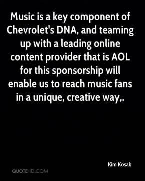 Music is a key component of Chevrolet's DNA, and teaming up with a leading online content provider that is AOL for this sponsorship will enable us to reach music fans in a unique, creative way.