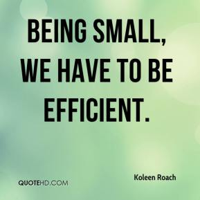Koleen Roach  - Being small, we have to be efficient.