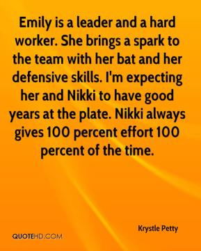 Emily is a leader and a hard worker. She brings a spark to the team with her bat and her defensive skills. I'm expecting her and Nikki to have good years at the plate. Nikki always gives 100 percent effort 100 percent of the time.