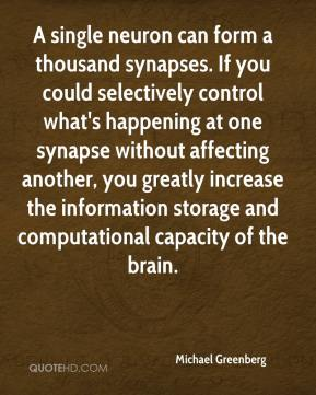 Michael Greenberg  - A single neuron can form a thousand synapses. If you could selectively control what's happening at one synapse without affecting another, you greatly increase the information storage and computational capacity of the brain.