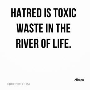 Micron  - Hatred is toxic waste in the river of life.