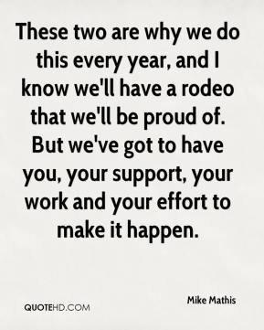 Mike Mathis  - These two are why we do this every year, and I know we'll have a rodeo that we'll be proud of. But we've got to have you, your support, your work and your effort to make it happen.