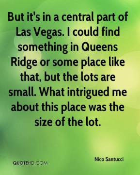 Nico Santucci  - But it's in a central part of Las Vegas. I could find something in Queens Ridge or some place like that, but the lots are small. What intrigued me about this place was the size of the lot.