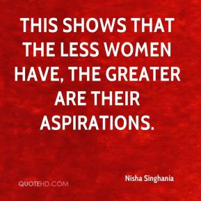 This shows that the less women have, the greater are their aspirations.