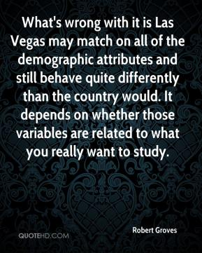 Robert Groves  - What's wrong with it is Las Vegas may match on all of the demographic attributes and still behave quite differently than the country would. It depends on whether those variables are related to what you really want to study.