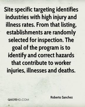 Roberto Sanchez  - Site specific targeting identifies industries with high injury and illness rates. From that listing, establishments are randomly selected for inspection. The goal of the program is to identify and correct hazards that contribute to worker injuries, illnesses and deaths.