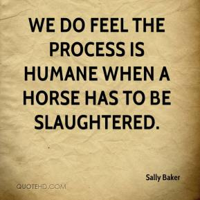 Sally Baker  - We do feel the process is humane when a horse has to be slaughtered.