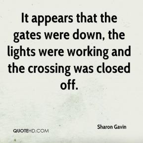 Sharon Gavin  - It appears that the gates were down, the lights were working and the crossing was closed off.